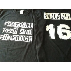 KNOCK OFF - FOOTBALL BEER AND PUNK ROCK T SHIRT BLACK