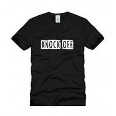 KNOCK OFF LOGO BLACK T SHIRT