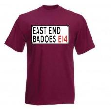 EAST END BADOES E14 BERGUNDY T SHIRT